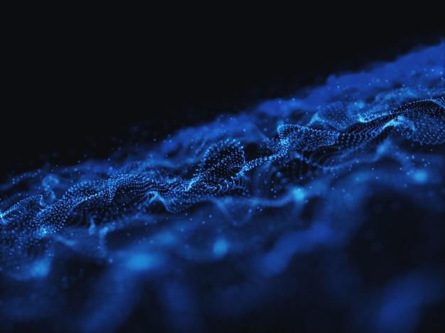 流れる粒子とサイバードットのある抽象の3dレンダリング