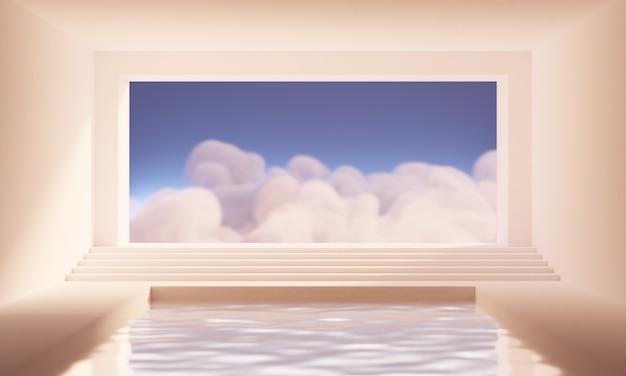 暖かい桃のパレットでプールと空と雲のある大きな窓のある空の抽象的な部屋の3dレンダリング。製品や化粧品のプレゼンテーションのためのミニマルなシュールなトレンディな背景。