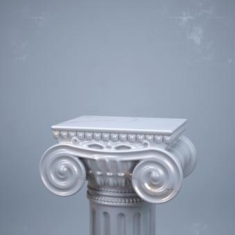 大理石のテクスチャを使用した古代の柱の3dレンダリング。製品ショーケースクリエイティブモックアップ。