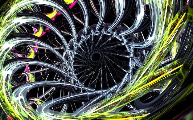 内部にネオングリーンのスレッドを持つガラス部品の丸い曲線の波状回転チューブ要素に基づく抽象的な花またはタービンジェットエンジンの一部とアート3 d背景の3 dレンダリング
