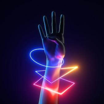 カラフルなネオンライトの幾何学的なブレスレットと人工の女性の手の3dレンダリング