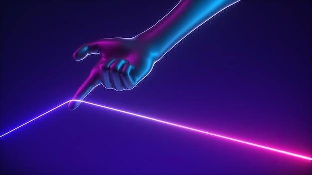 인공 손의 3d 렌더링은 울트라 바이올렛 핑크 네온 빛나는 끈을 당깁니다