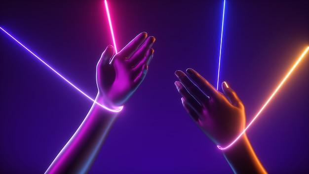화려한 문자열 네온 불빛 빛나는 라인과 인공 마리오네트 손의 3d 렌더링