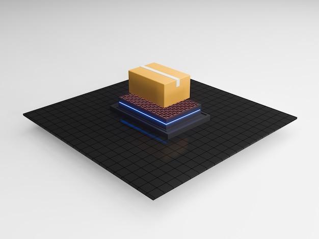 자동 정렬 및 배달 패키지의 3d 렌더링. 현대 해운 산업. ai 파견 우체국. 격리 된 아이소 메트릭 단위.