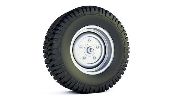 3d визуализация автомобильного колеса, изолированные на белом пространстве. шины для легковых автомобилей.