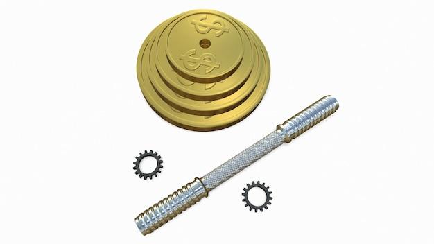 金貨で作られたバーベルの3dレンダリング3drendering