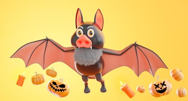 オレンジ色の背景にハロウィーンのコンセプト、カボチャ、キャンドルで飛んでいるコウモリの3dレンダリング