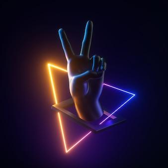 勝利のジェスチャーを浮き上がらせる黒い人工の手のネオンライトの幾何学的なオブジェクトの3dレンダリング