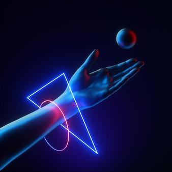 ボールを投げる黒い人工ハンドウェアネオン光る幾何学的なブレスレットジャグラーの3dレンダリング