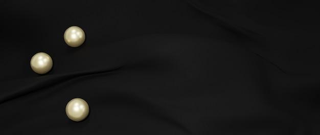 검은 천의 3d 렌더링입니다. 추상 미술 패션 배경입니다.