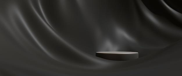 검은 천과 연단의 3d 렌더링입니다. 추상 미술 패션 배경입니다. 장면 무대 플랫폼 쇼케이스, 제품, 프레젠테이션, 연단의 화장품.
