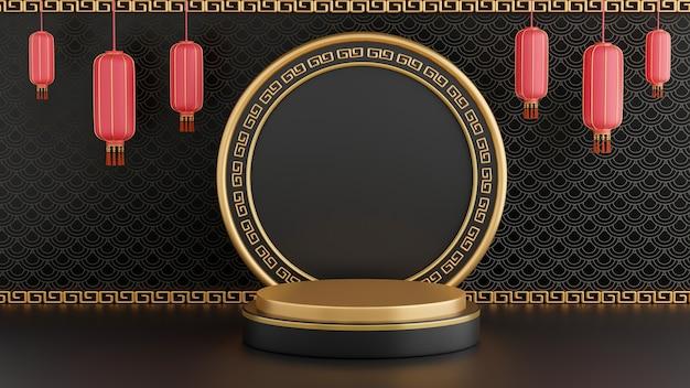3d визуализация черного подиума в китайском стиле для презентации продукта