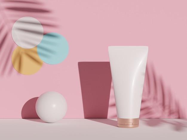 3d-рендеринг пустого косметического продукта по уходу за кожей или упаковки для макета косметического мыла и концепции спа