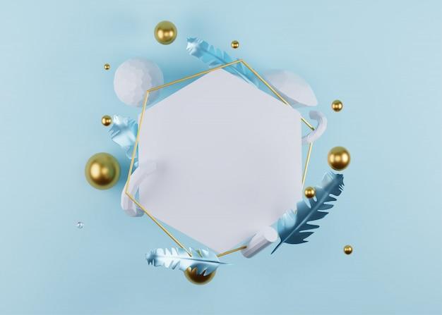 羽と叫びで飾られた空白の六角形フレームの3 dレンダリング