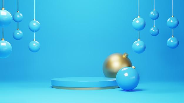 파란색과 금색 연단의 3d 렌더링입니다. 기하학적 구성, 반원형 스탠드와 배경입니다. 현대적인 디자인.