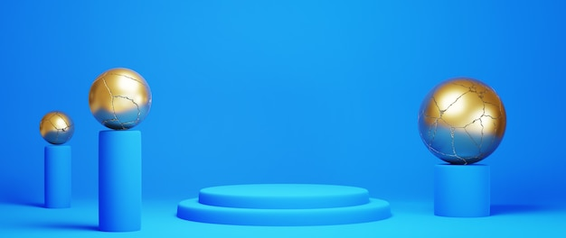 青と金の表彰台の3dレンダリング。幾何学的構成の背景、半円形のスタンド。モダンなデザイン。