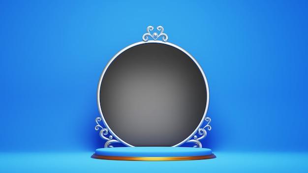 검은 동그라미 보드와 함께 파란색과 금색 연단의 3d 렌더링