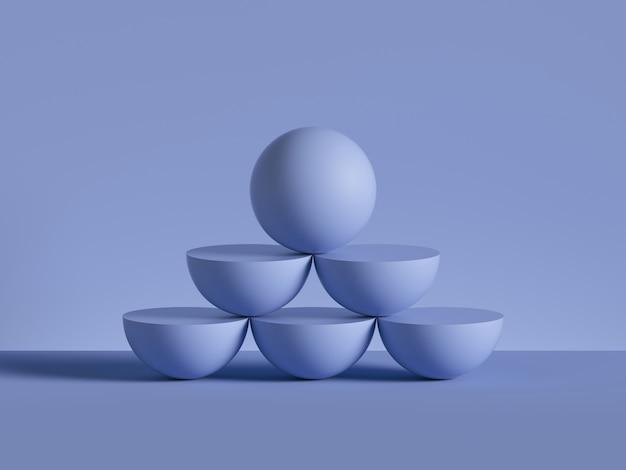 3d визуализация синего шара на вершине пирамиды