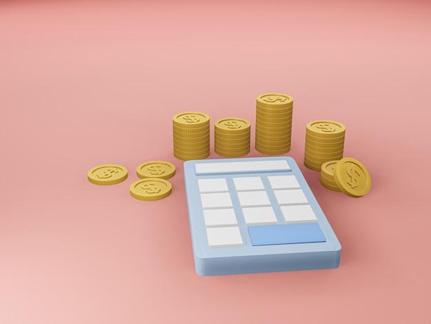 3d визуализация синий калькулятор и золотая монета на розовом полу