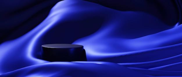 파란색 천과 연단의 3d 렌더링입니다. 추상 미술 패션 배경입니다. 장면 무대 플랫폼 쇼케이스, 제품, 프레젠테이션, 연단의 화장품.