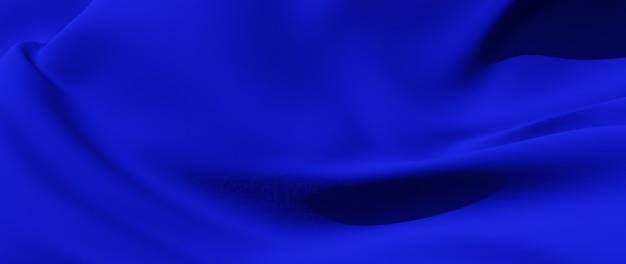 파란색 천의 3d 렌더링입니다. 무지개 빛깔의 홀로그램 호일. 추상 미술 패션 배경입니다.
