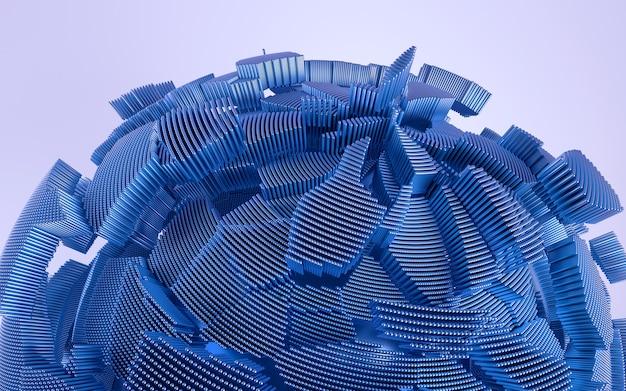 青のディテール形状の3dレンダリング。ダイナミックで未来的な背景。