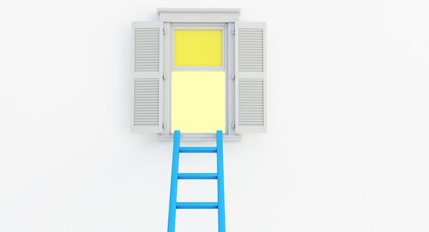 흰색 배경에 고립 된 열린 창에 파란색 사다리의 3d 렌더링.