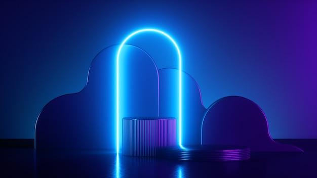 3d визуализация синей неоновой арки над цилиндрическим подиумом со светящейся рамкой с копией пространства