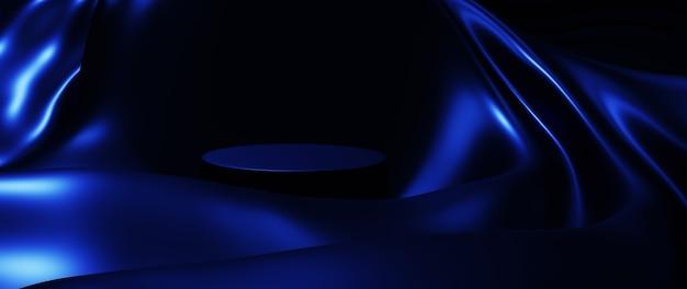3d визуализация синего шелка и подиума. предпосылка моды абстрактного искусства.