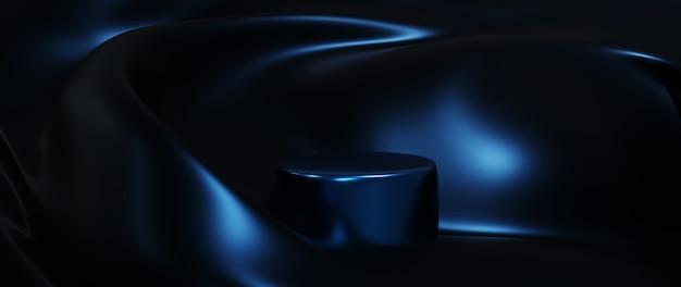 青いシルクと表彰台の3dレンダリング。抽象芸術のファッションの背景。