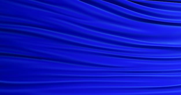 3d визуализация синего фона шелковой ткани. темно-синий атлас, шелк, текстура фон