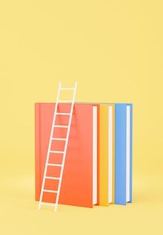 교육 개념이 있는 책 쌓기의 3d 렌더링, 모형 디자인을 위한 계단
