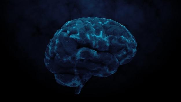 ダメージゾーンのある脳の3dレンダリング。感染症または脳損傷の概念の別の理由。