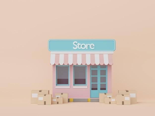 모의 및 창의적인 디자인 쇼핑 온라인 개념을 위한 갈색 판지 상자 소포의 3d 렌더링