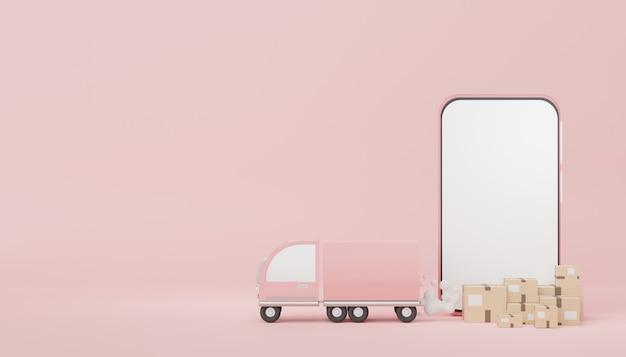조롱 및 창의적인 디자인을 위한 트럭이 있는 갈색 판지 상자 소포의 3d 렌더링