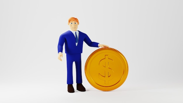 白い背景の上のビジネスマンと金貨の3dレンダリング。ビジネスオンラインの概念。