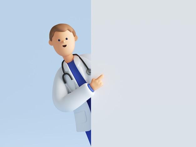 3d визуализация доктора мультипликационного персонажа носить униформу и стетоскоп, указывая пальцем.