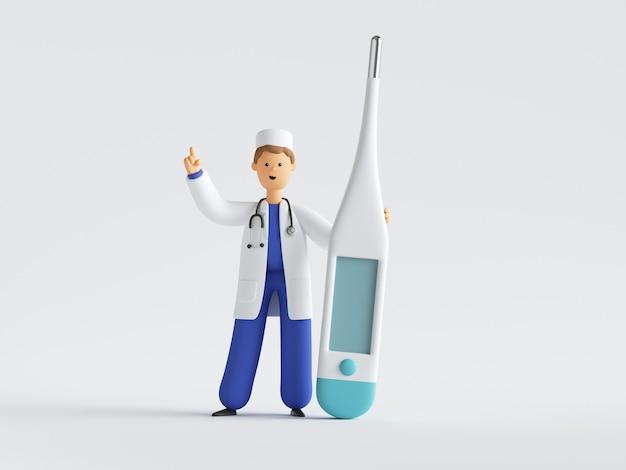 3d визуализация доктора мультипликационного персонажа в униформе и стетоскопа, стоящего возле большого термометра.