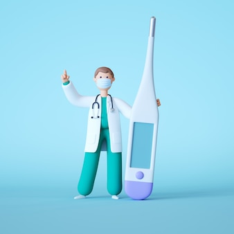 3d визуализация мультяшного доктора, стоящего рядом с макетом большого пустого термометра