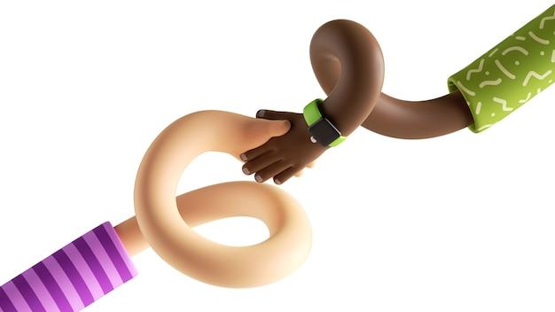 白い背景で隔離の漫画のねじれた柔軟な白人とアフリカの手の3dレンダリング