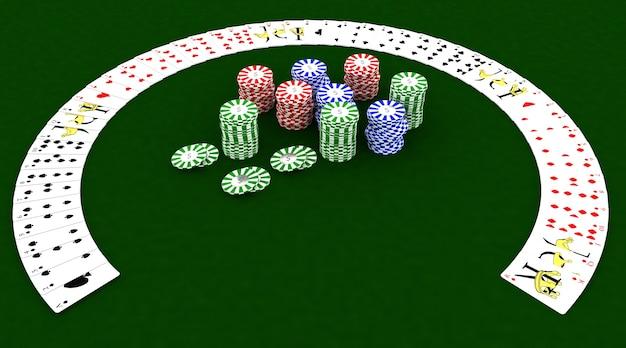 카지노 칩 및 카드 놀이의 3d 렌더링