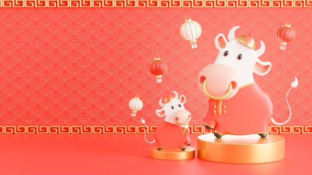 3d визуализация китайского быка новый год 2021
