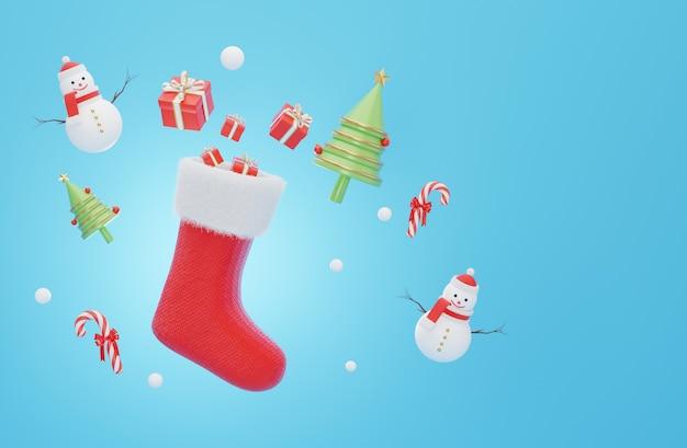 クリスマスのクリスマスソックスの3dレンダリング