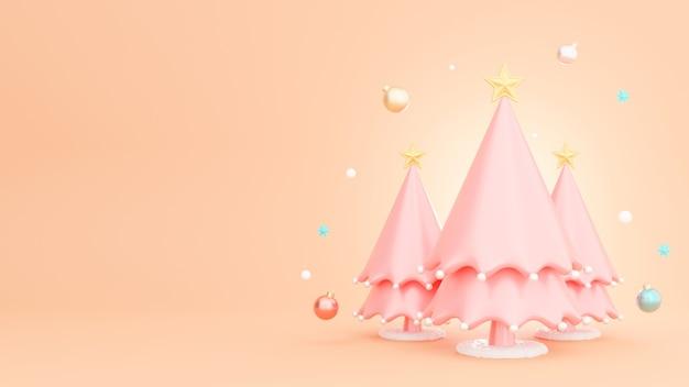 装飾が施されたクリスマスツリーの3dレンダリング