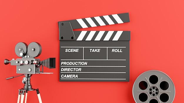 릴 필름이 있는 클래퍼 보드의 3d 렌더링, 영화 개념을 위한 복고풍 영화 카메라
