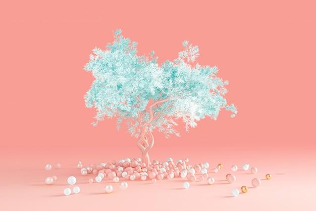 3d визуализация чистого минимального дизайна мягкое хвойное дерево с голубой кроной, изолированное на светло-розовой персиковой стене, выросшей из кучи шариков на полу