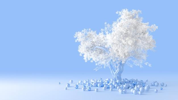 3d визуализация чистого минималистичного дизайна мягкого хвойного дерева с белой кроной на голубом фоне, выросшей из кучи шариков на полу