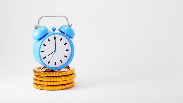 時計と金貨の3dレンダリング。オンラインショッピングとウェブビジネスコンセプトでのeコマース。スマートフォンで安全なオンライン決済取引。