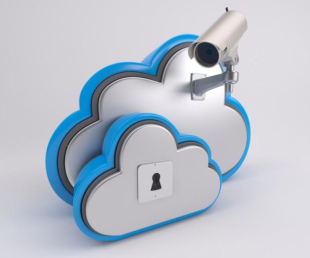 3d-изображение значка облачного диска с камерой безопасности