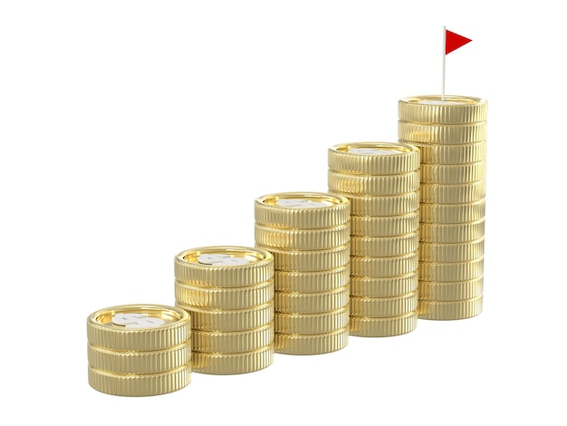 3d представляют стогов монетки с флагом
